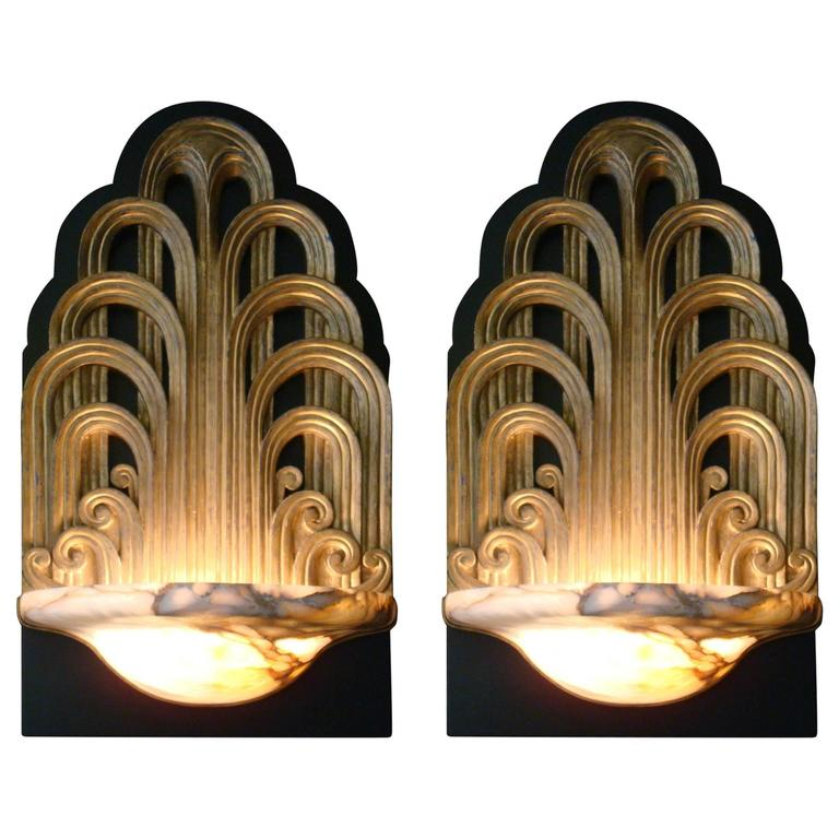 Pair of art deco fountain sconces wall lights theater lamps circa 1930 for sale