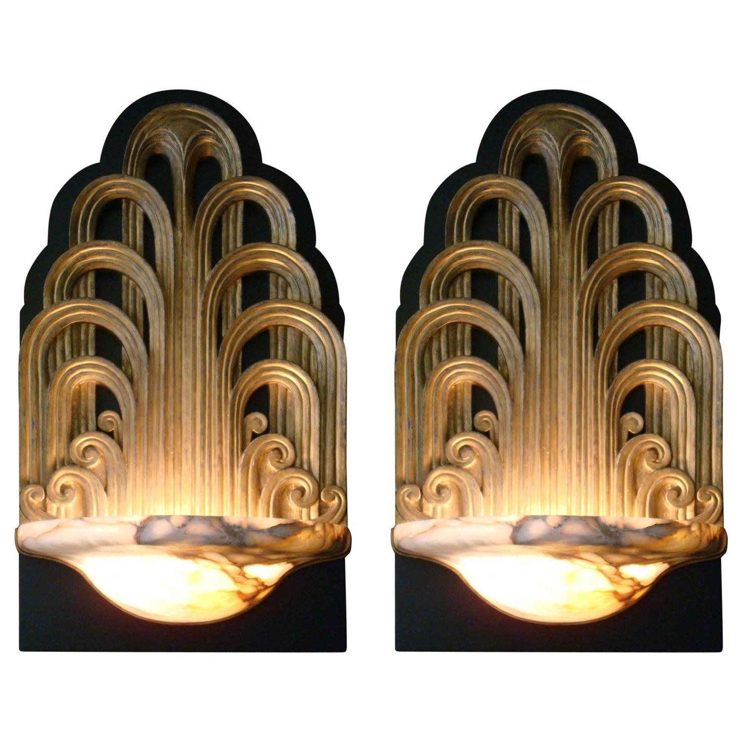 Wall Sconces Theater Lighting : Pair of Art Deco Fountain Sconces Wall Lights Theater Lamps, circa 1930 For Sale at 1stdibs