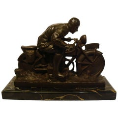 Motorcycle Bronze with Driver Desk Piece