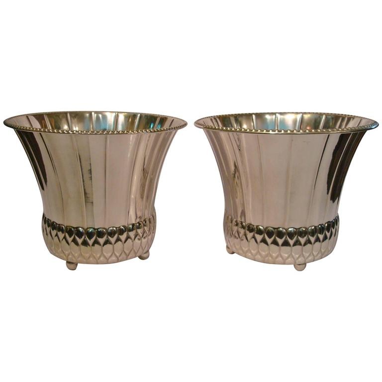 Pair of Art Deco Planters Silver Plated Brass, Germany, 1920
