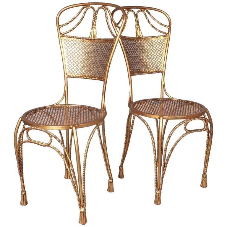 Pair of 1960s Italian Brass Effect Gilded Metal Side Chairs