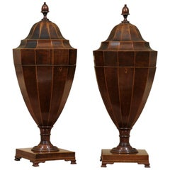 Pair of Large Urn Knife Boxes in Mahogany with Inlay, circa 1890