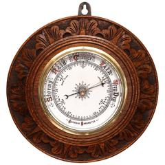 Edwardian Carved Circular Oak Barometer