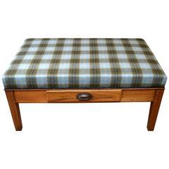 Oak Low Upholstered Stool