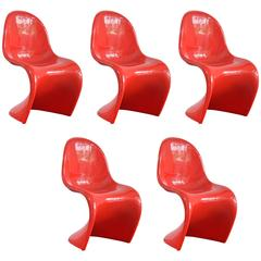 Collection of Five Verner Panton Miniature Chairs