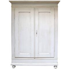 Substantial Continental Painted Two-Door Wardrobe