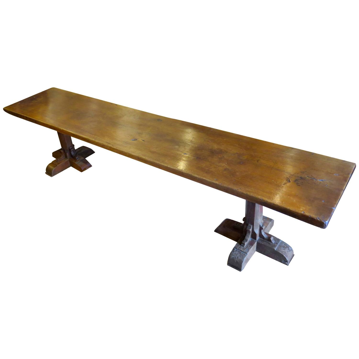incredible single plank walnut 17th century trestle dining table for