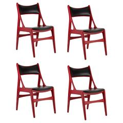 Set of Four, 20th Century Red Chairs with Black Vinyl Upholstery