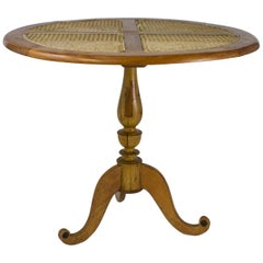 Early 20th Century Colonial Solid Satinwood Table with Caned Top, Sri Lanka