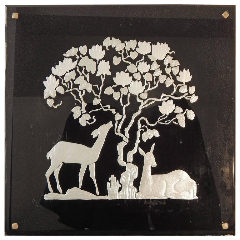"""Deer in the Shade,"" Highly Rare Art Deco Mirror with Sculptural Relief"