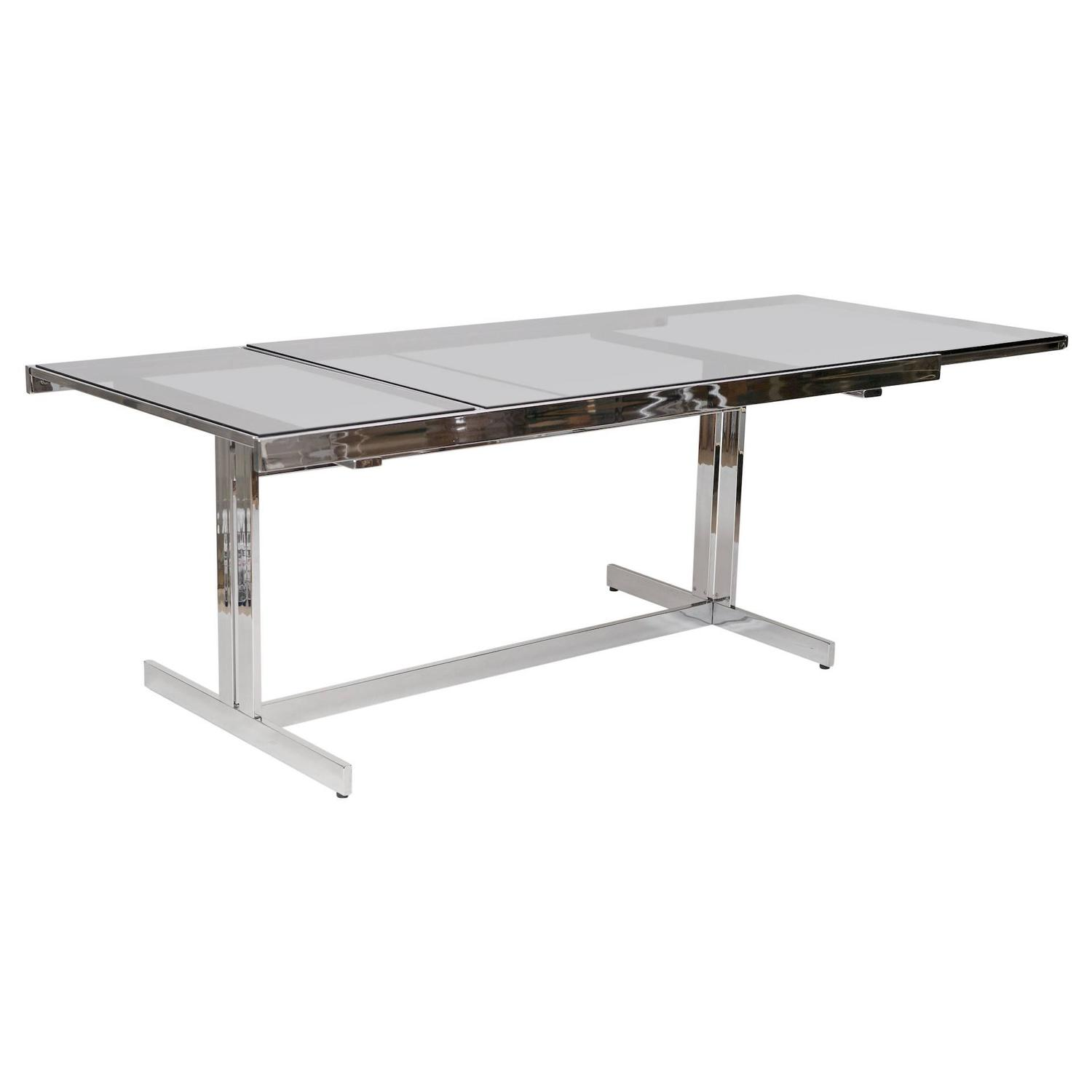 Chrome and glass extending dining table circa 1970 at 1stdibs for Glass and chrome dining table