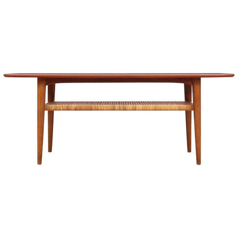 mid-century modern scandinavian coffee table in teak and oak at