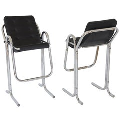 """Pair of Modern Chrome and Leather Jerry Johnson """"Arcadia"""" Tall Bar Stools, 1960s"""