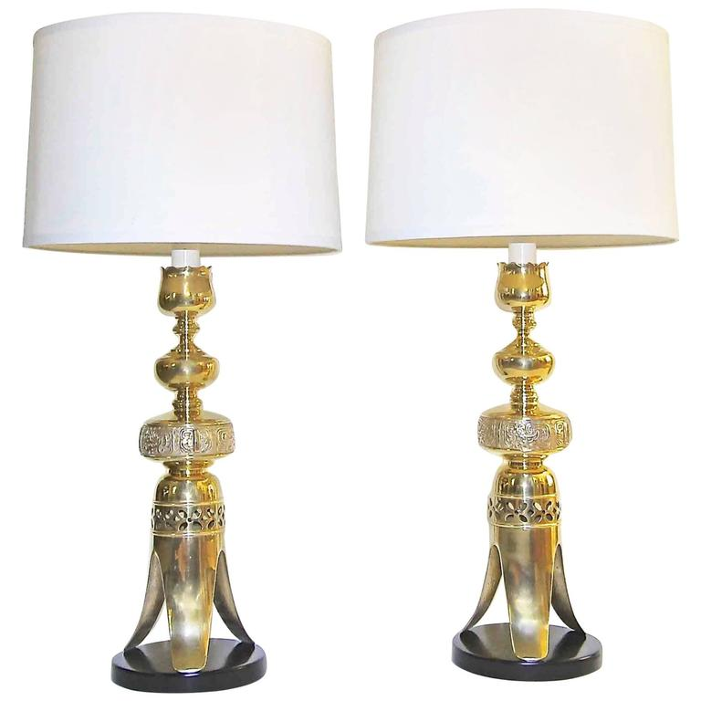 Pair Of Tall Brass Asian Altar Candlestick Table Lamps For Sale