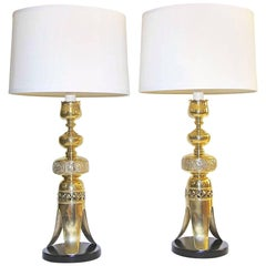 Pair of Tall Brass Asian Altar Candlestick Table Lamps