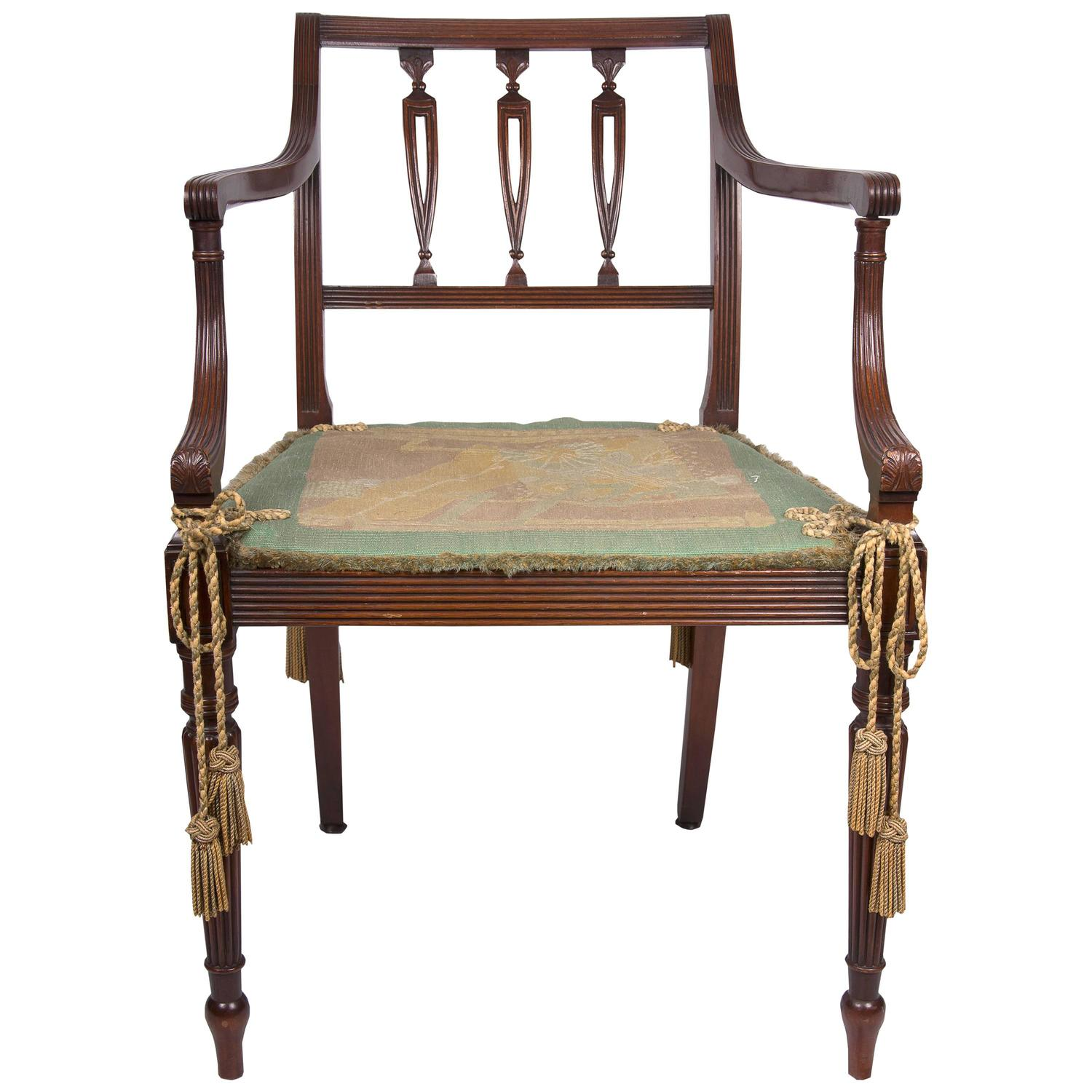Early 20th Century Edwardian Sheraton Style Mahogany Armchair For Sale At 1stdibs