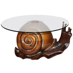Federico Armijo Glass Top Carved Snail Table