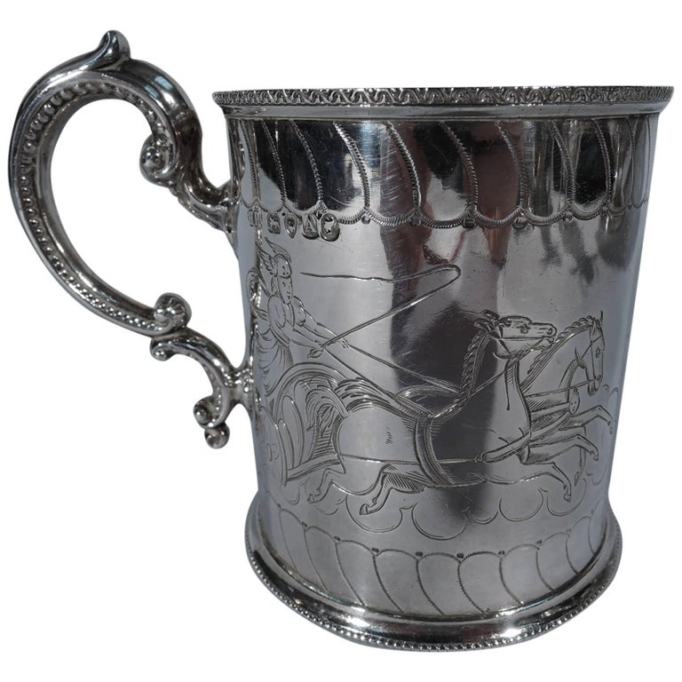 Antique English Sterling Silver Baby Cup with Classical Charioteers For Sale