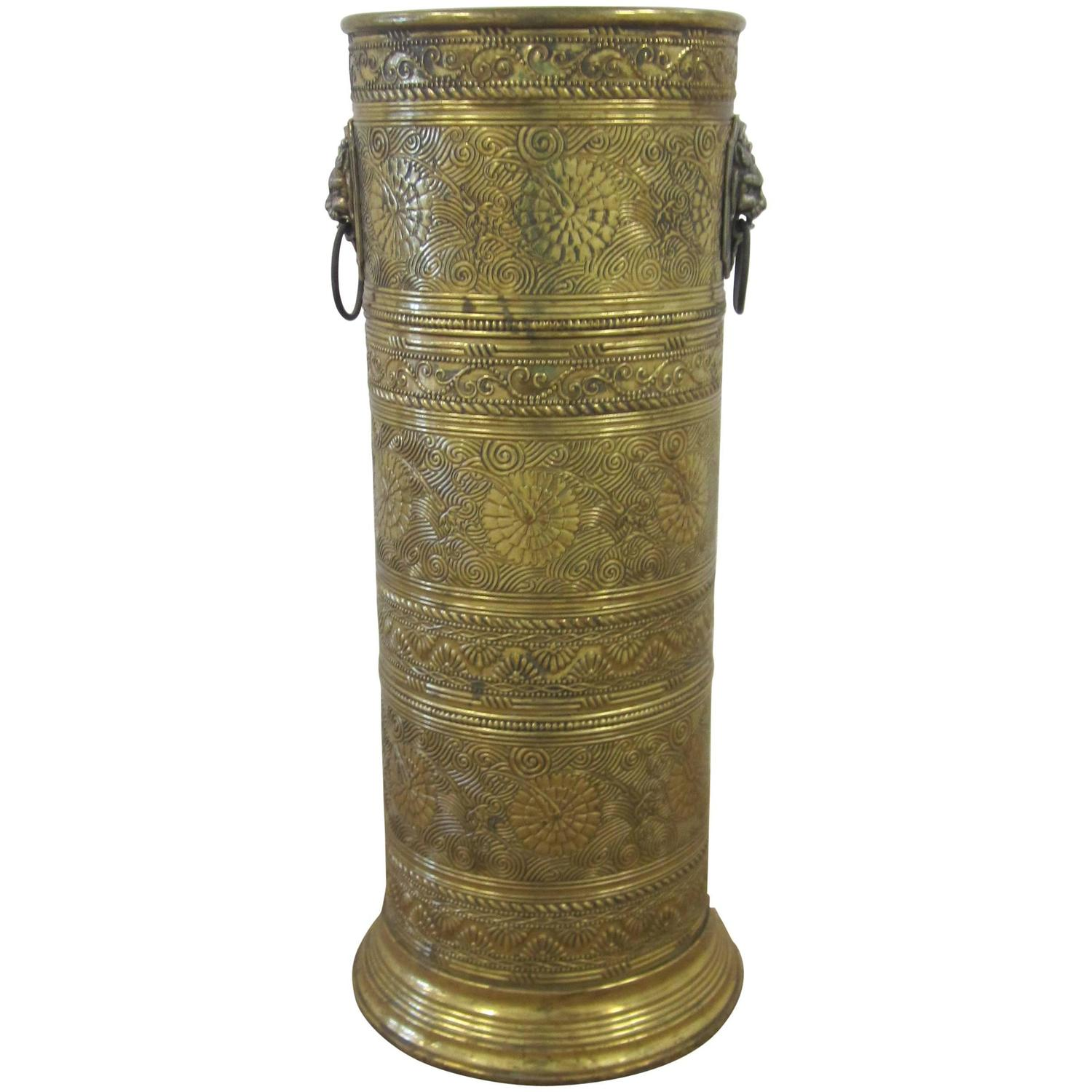 Brass Umbrella Stand Embossed: Vintage Brass Umbrella Stand With Decorative Lion Heads At