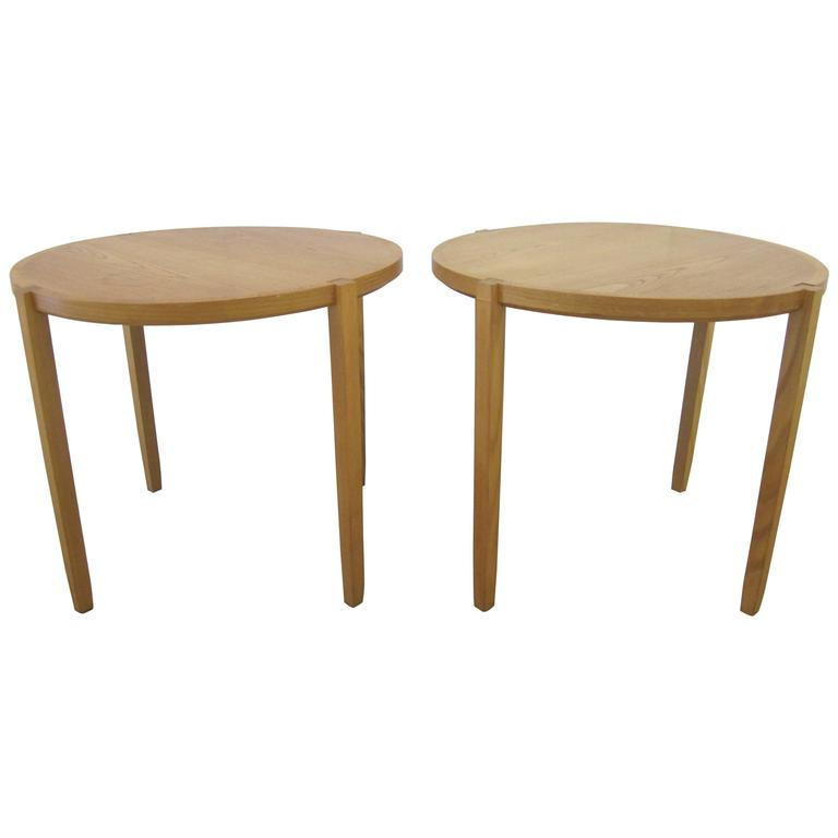 Pair Of Round Oak End Tables For Brickel By Designer Timothy Defiebre For  Sale