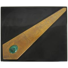 Beautiful Vintage Modern Black and Gold Lacquered Box with Green Malachite