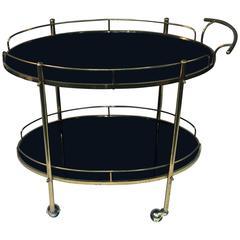 Elegant Modern Double Tier Black Glass and Brass Bar Cart
