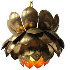 Large Feldman Iconic Brass Lotus Pendant Mid-Century, 1960s , USA