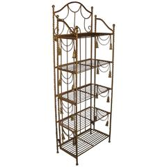 Hollywood Regency Style Brass Tastle Form Five Shelf Etagere