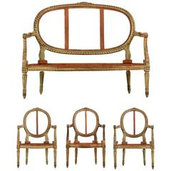 French Louis XVI Distressed Painted Salon Suite of Settee with Three Armchairs