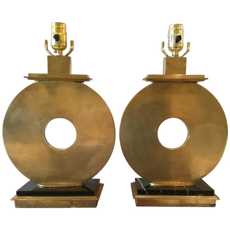 pair of modernist robert abbey brass table lamps for sale at 1stdibs