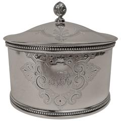 19th Century American Sterling Silver Tea Caddy by Shreve, Stanwood & Co, Boston