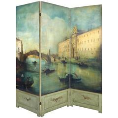 19th Century Venetian Painted Oil on Canvas Screen, Signed L.D Mott-Guardi