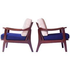 Pair of Vintage Fredrik A. Kayser Teak and Wool Lounge Chairs, Norway, 1950s