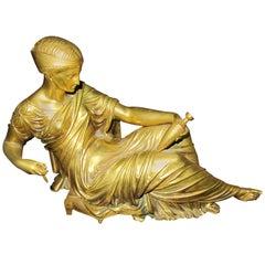 Spectacular Gilt Bronze of Reclining Roman Woman, Beautiful Gilt Finish