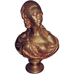 Charming Gilt Bronze Bust of a Woman