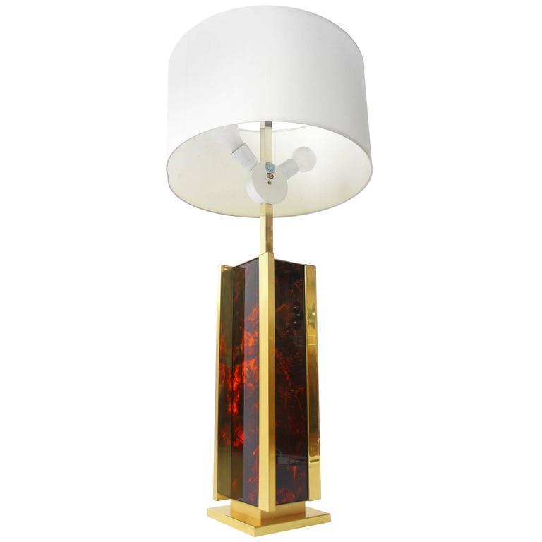 Sciolari Brass And Faux Tortoise Massive Table Lamp Vintage Italia