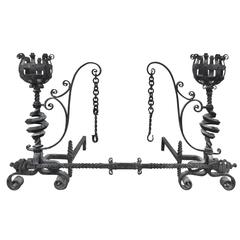 19th Century Ornate European Hand-Forged Scrolled Iron Andiron Set with Bar