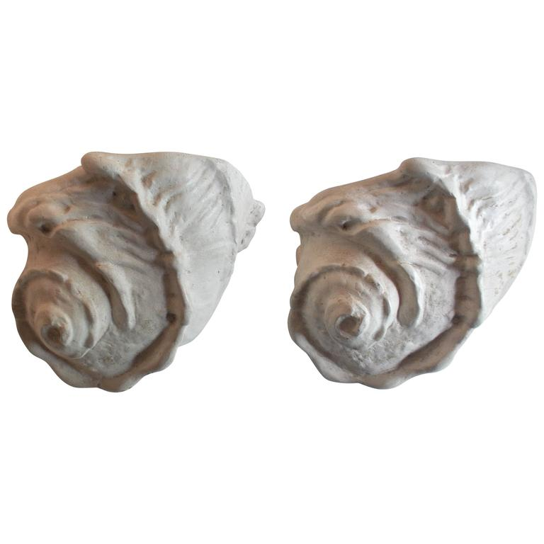 Wall Sconces Plaster : Pair of Giacometti Conch Plaster Wall Sconces For Sale at 1stdibs