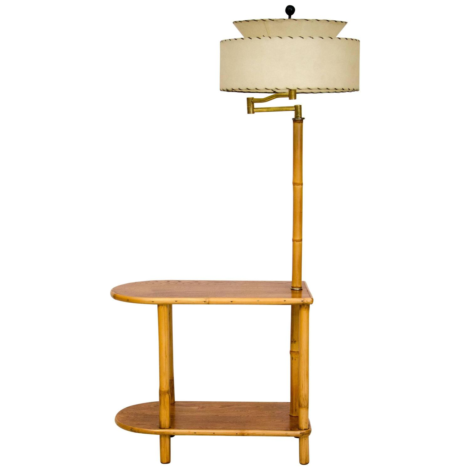 Rattan End Table With Attached Lamp For Sale At 1stdibs