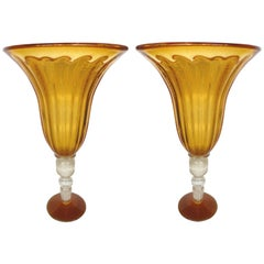 Monumental Pair of Blown Murano Glass Urns with Infused Gold Flakes