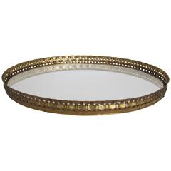 Beautiful Vintage Oval Brass and Mirror Vanity Tray