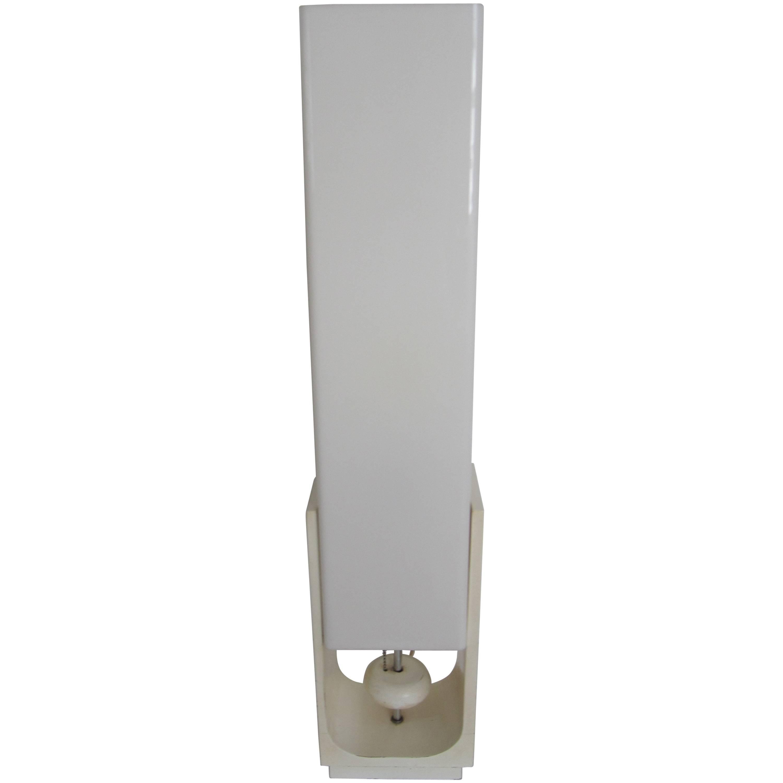 Modern White Acrylic Table Lamp, ca. 1960s