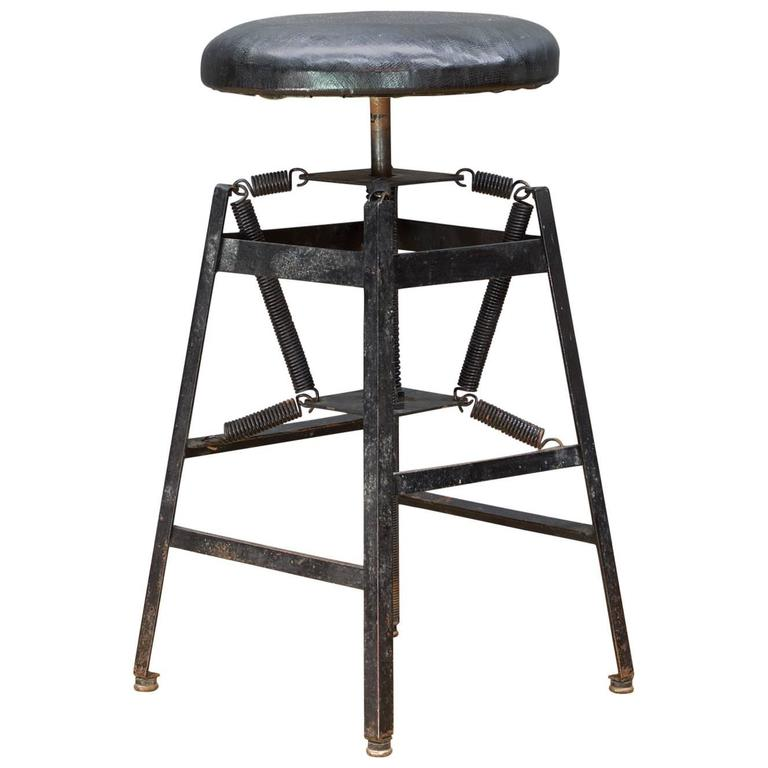 Rare Vintage Industrial Architects Black Drafting Spring Stool For Sale