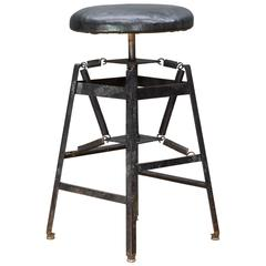 Rare Vintage Industrial Architects Black Drafting Spring Stool
