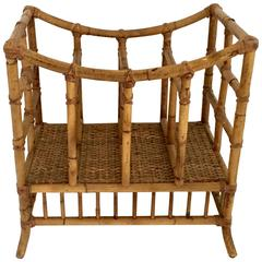 1930s Rattan and Wicker Large Magazine Rack
