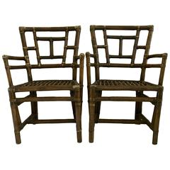 1930s Pair of Rattan Armchairs