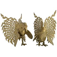 Pair of Italian Solid Brass Fighting Rooster Sculptures