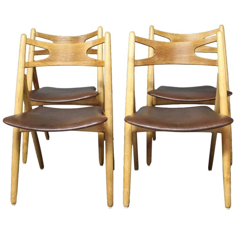Set of Four Sawbuck Chairs, Model CH24 by Hans J. Wegner, 1960s