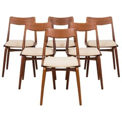 Alfred Christensen Dining Chairs Model Boomerang Produced in Denmark