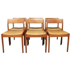 Set of Six Dining Room Chairs in Teak by N.O. Møller, 1960s